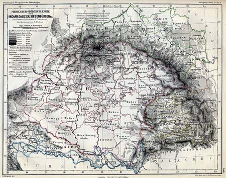 Historical Map: Hungary, Transylvania and Galicia
