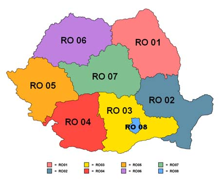 political map of romania. Map: The eight development